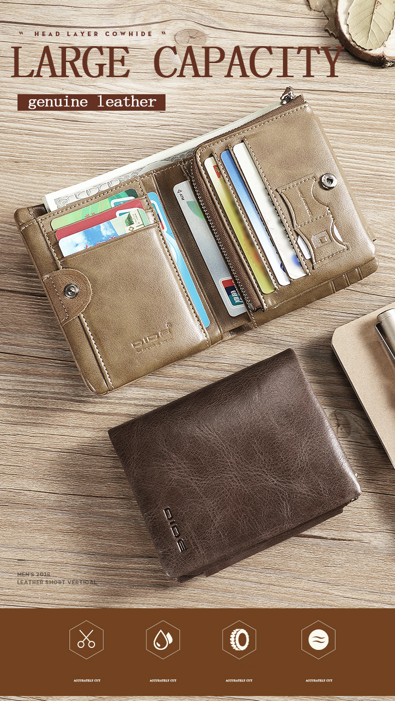 DIDE New 100% genuine leather wallets for men purse Vintage Small Wallet Male Card Holder Tri-fold Zipper Coin Purse DQ595