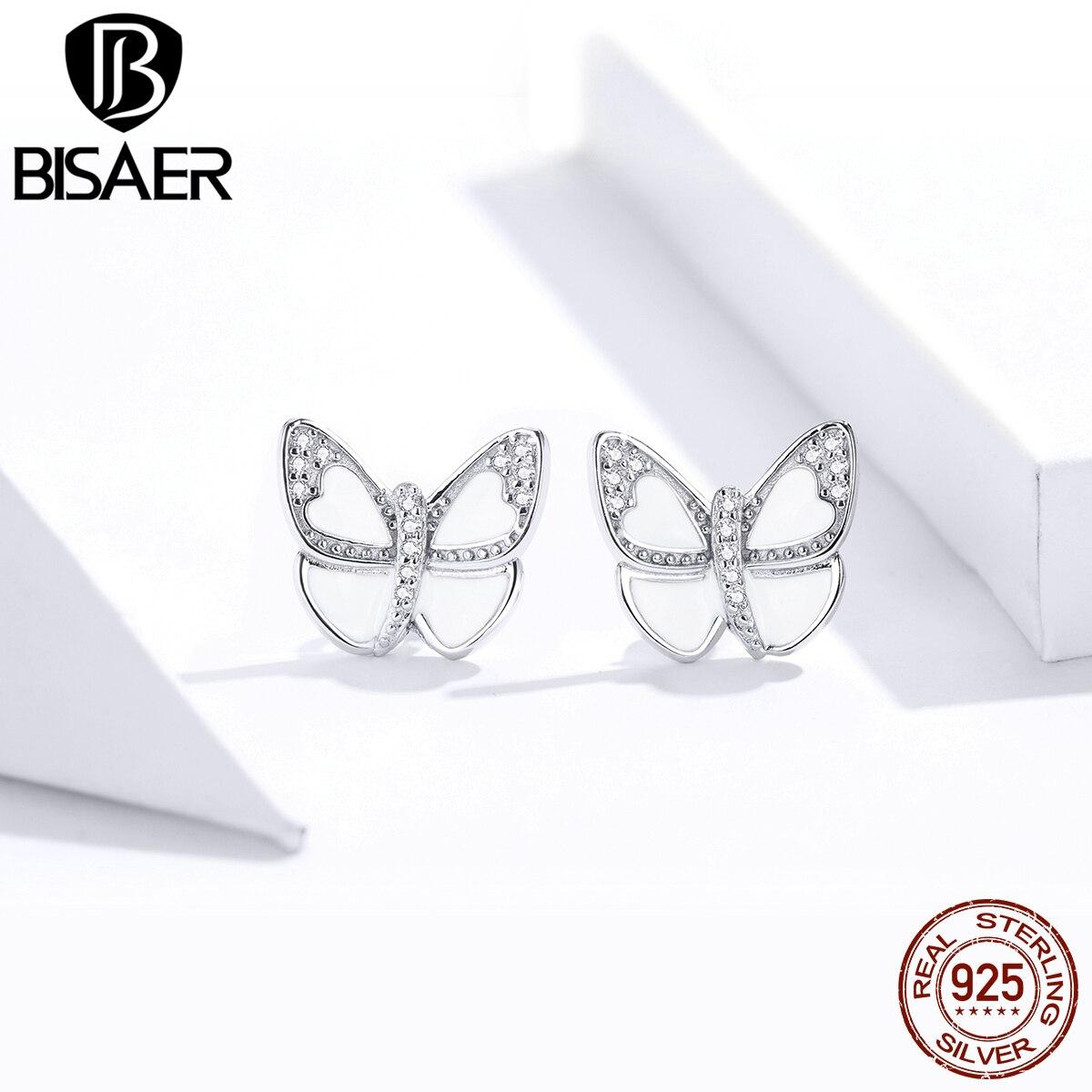 Женские маленькие серьги-гвоздики BISAER, серебряные и белые серьги-бабочки с 925 пробы, ювелирные изделия, HSE876