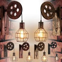Wall Lamp Corridor Lifting Pulley Indoor Lighting Living Room Home Rustic Retro Industrial Restaurant Sconce Light Cafe E27