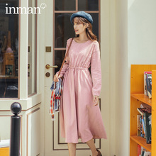 INMAN 2020 Autumn Winter New Arrival Artsy Jacqueline Women Joint Design Sweet A Line Dress