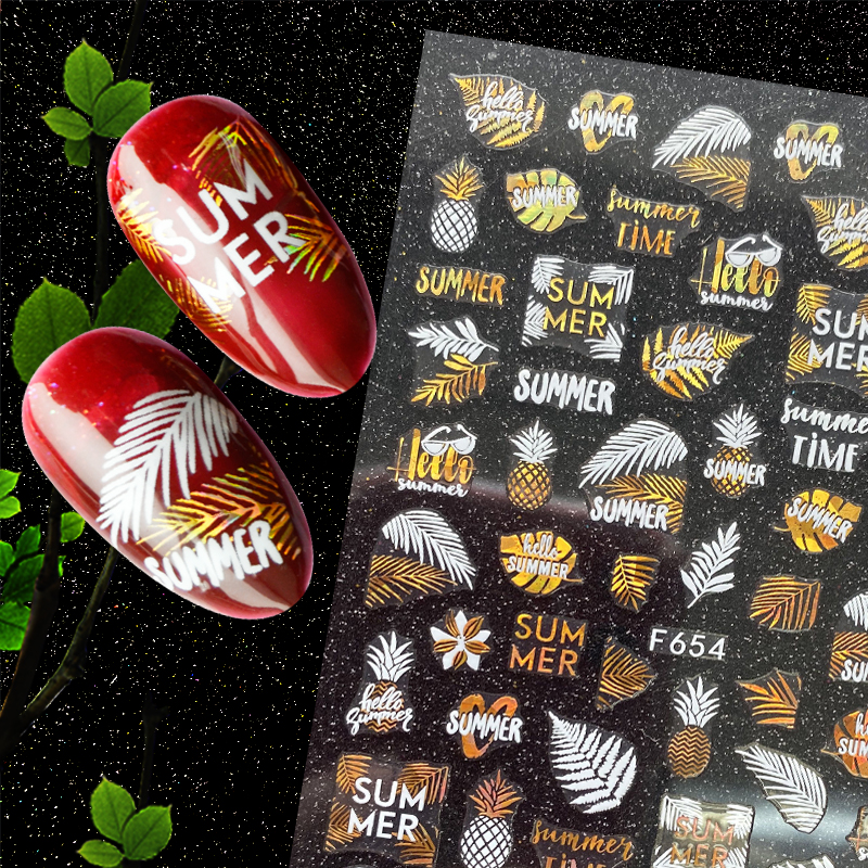 Newest F654 White Anf Laser Gold Leaf Design Nail Art Sticker Decal Stamping Back Gule DIY Decoration For Nail Wraps