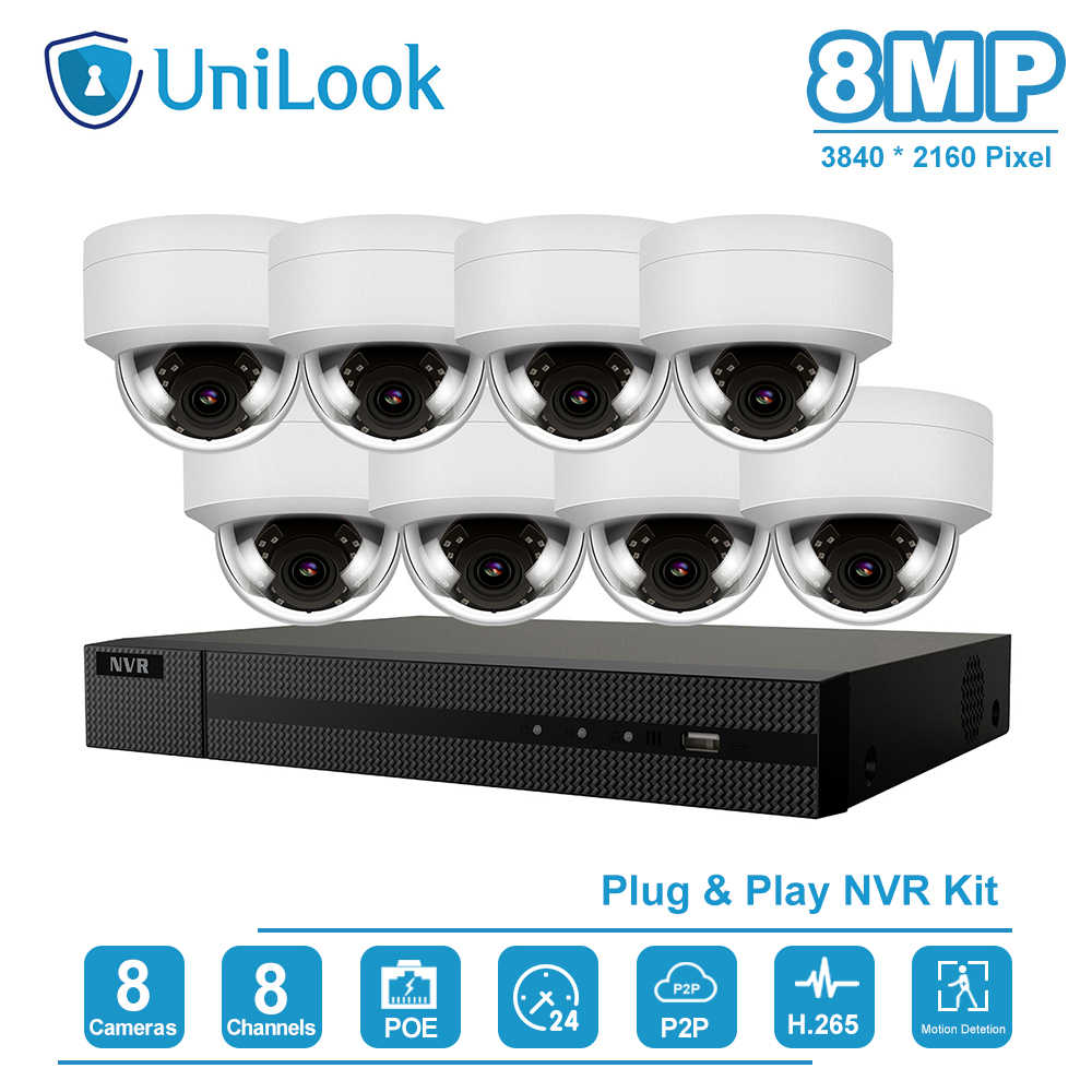 UniLook 8CH 4K NVR 8MP POE IP Camera Kit di Sicurezza Domestica/Sistemi di Sicurezza Esterna ONVIF CCTV Video Sorveglianza NVR Kit