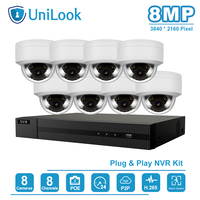 UniLook 8CH 4K NVR 8MP POE IP Camera Kit Security Home/Outdoor Security Systems ONVIF CCTV Video Surveillance NVR Kit