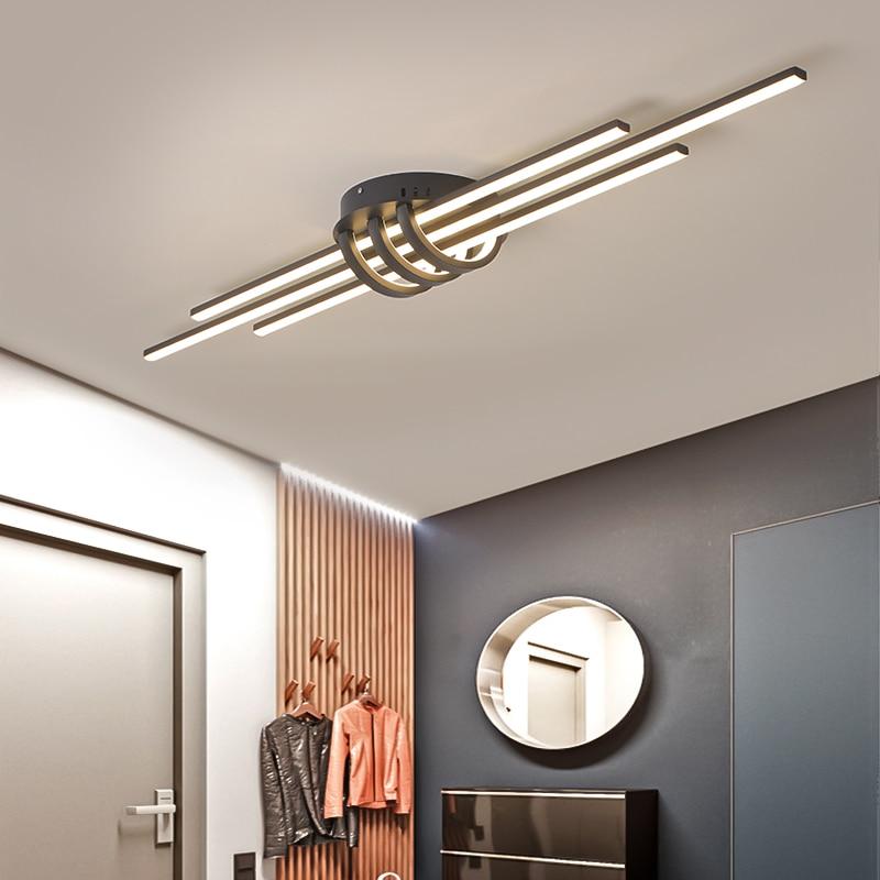 Modern Led Chandeliers For Living Room Bedroom Corridor Matte Black/white Finished Aluminum Chandelier Lamp Fixtures AC90-260V