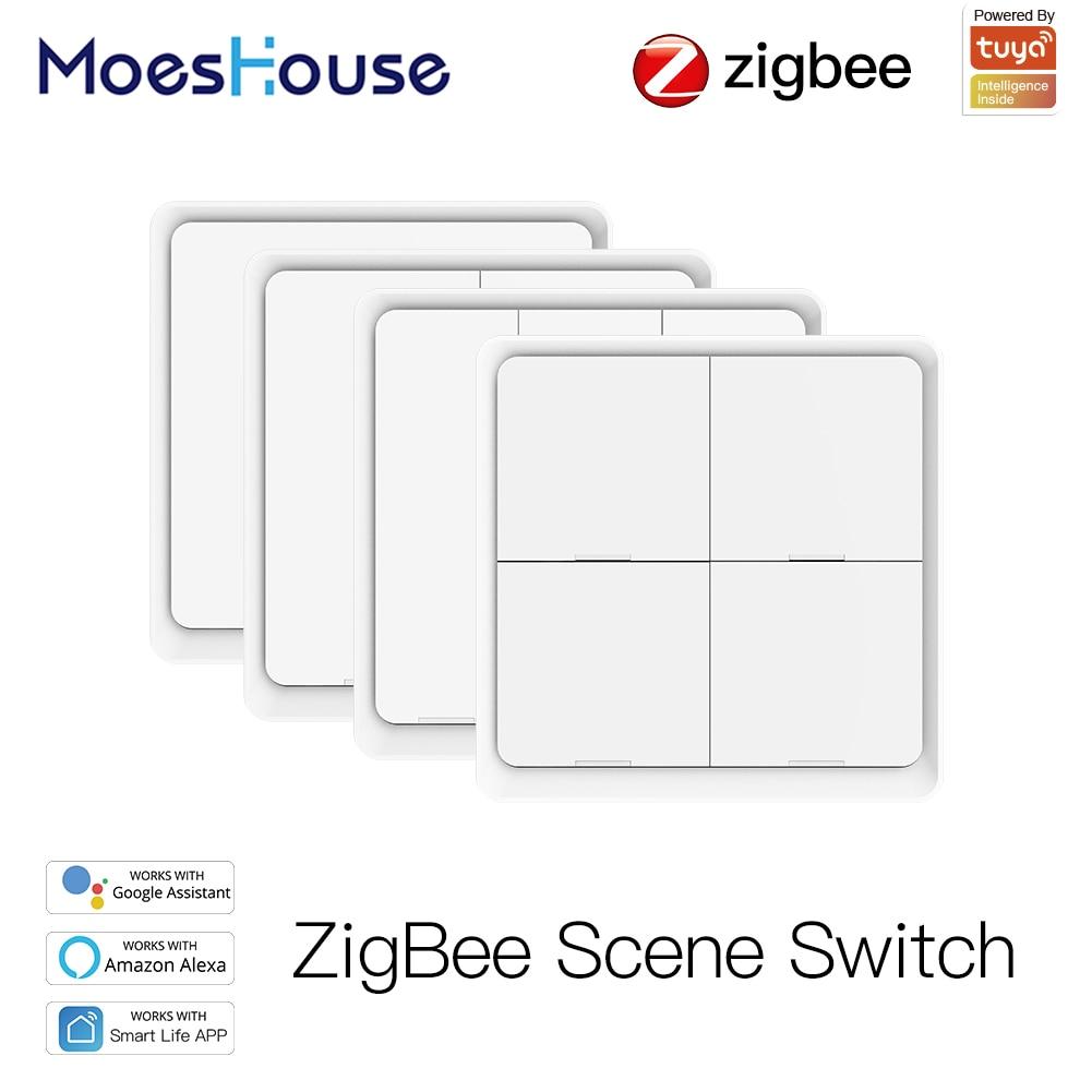 4 Gang Tuya ZigBee Wireless 12 Scene Switch Push Button Controller Battery Powered Automation Scenario for Tuya Devices