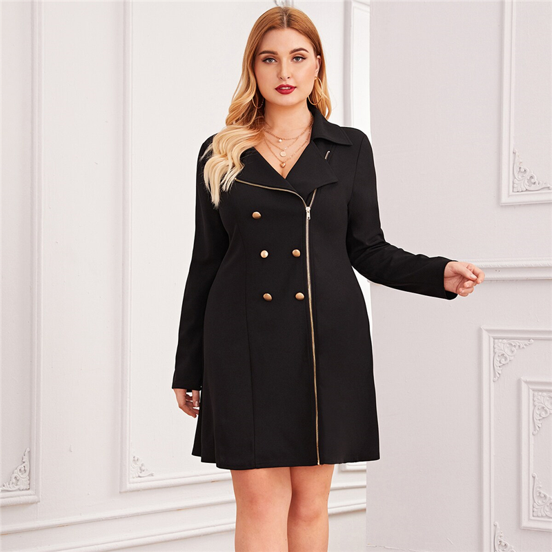 Plus Size Black Zipper Front Double Button Blazer Dress