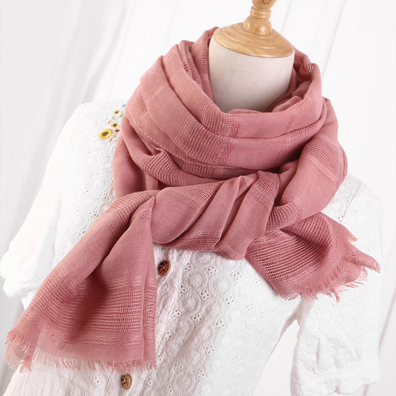 Fashion Hollow Linen Cotton Scarf Women Solid Color Muslim Red Black Hijab Scarves Head Hair Scarf Shawls Red White Pink Scarf