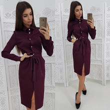Women Casual Button Sashes Dress Solid Long Sleeve Turn-Down