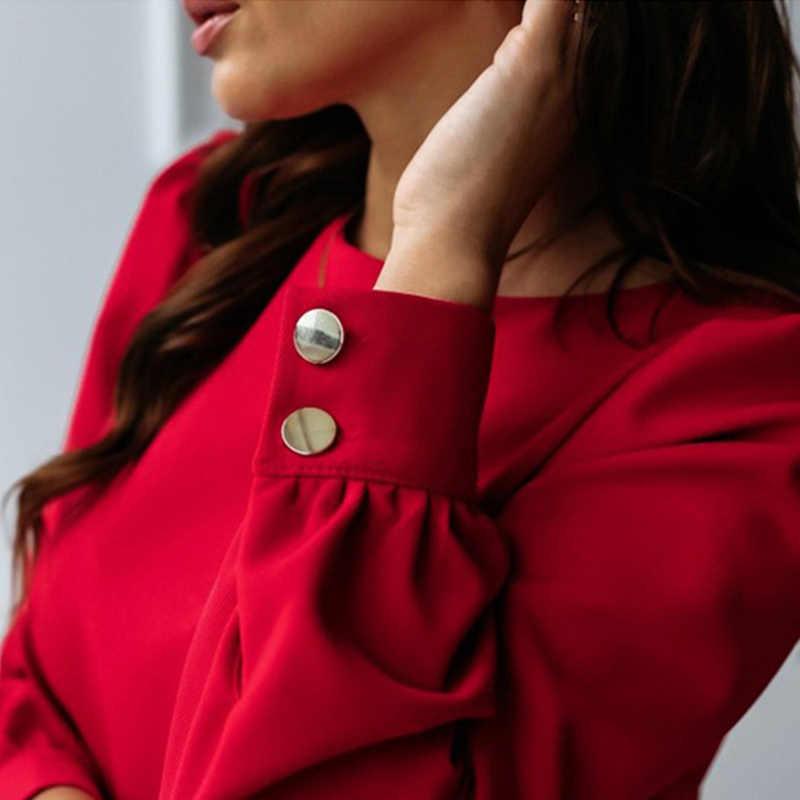 Frauen Zurück Metall Tasten Oansatz Hemd Mini Kleid Langarm Elegante A-Line Tuniken Weibliche 2020 Frühling Sommer Kleider Plus Größe