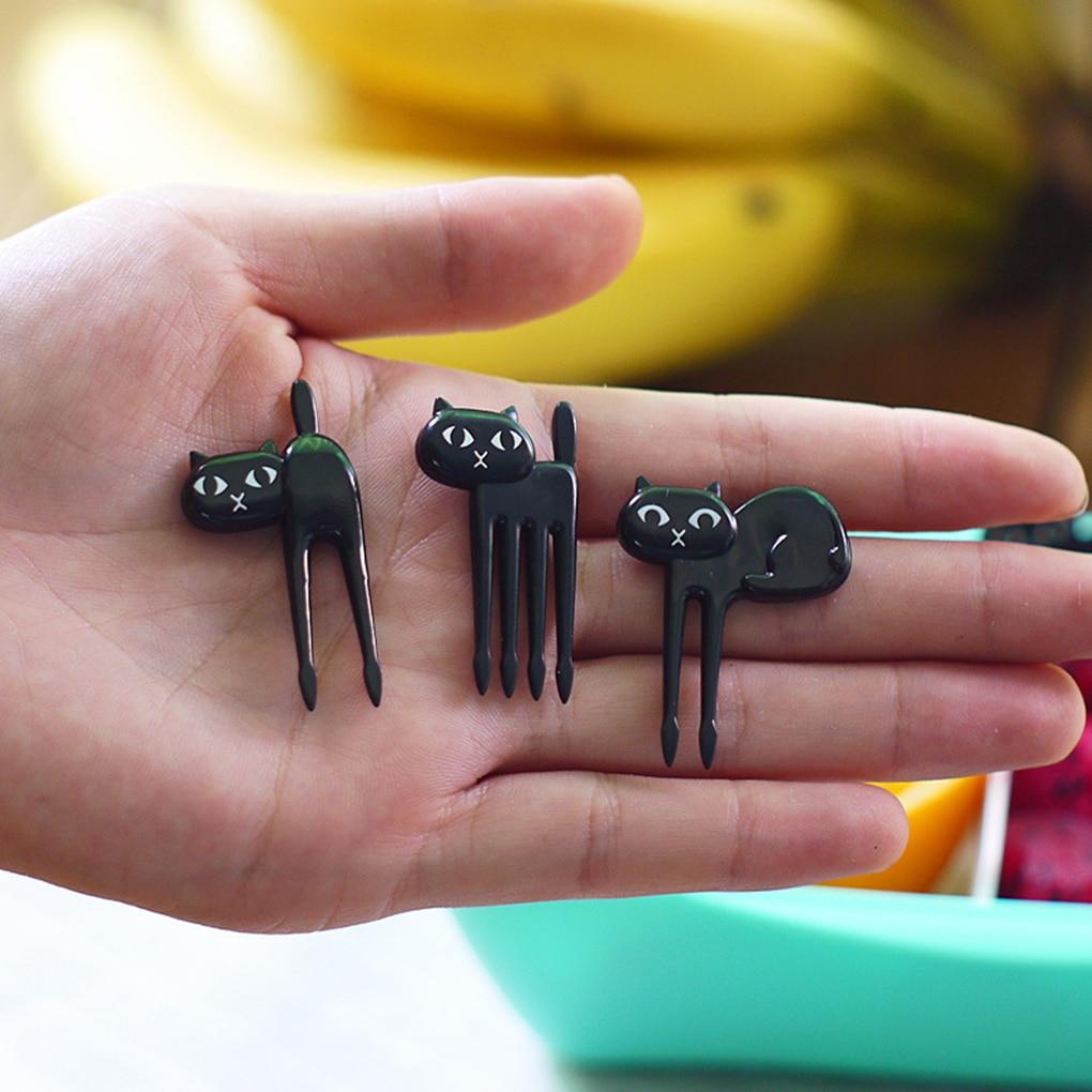 Hot sale 6 pçs/set Preto Gato Gatinho Almoço Garfo Forquilha Fruta Dos Desenhos Animados Crianças Mini Alimentos Picaretas