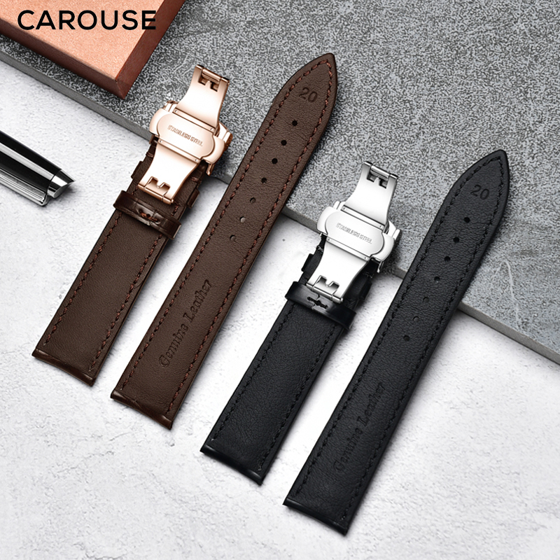 Clearance SaleCarouse Watchband 16mm 18mm 19mm 20mm 21mm 22mm Calfskin Genuine Leather Watch Band Alligator Grain Watch Strap for Tissot Seiko