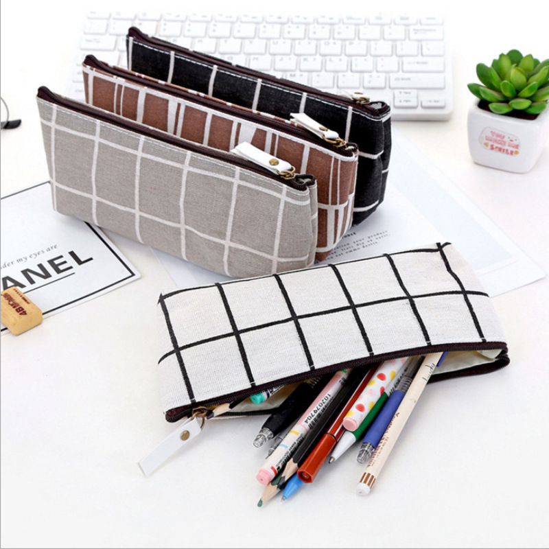 Simple Canvas Trapezoidal Pencil Bag Simple Creative Student Stationery Box Pencil Case Office School Supplies Storage Bag Purse