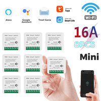 16A Tuya Wifi Mini DIY Smart Switch Led Light Smart Life Push Module Support 2 Way Voice Relay Timer Work with Google Home Alexa 1