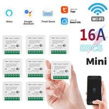 Interrupteur intelligent WiFi Led 16a Tuya, Module Push, prise en charge de l'application bidirectionnelle, relai vocal, minuterie, Google Home Alexa