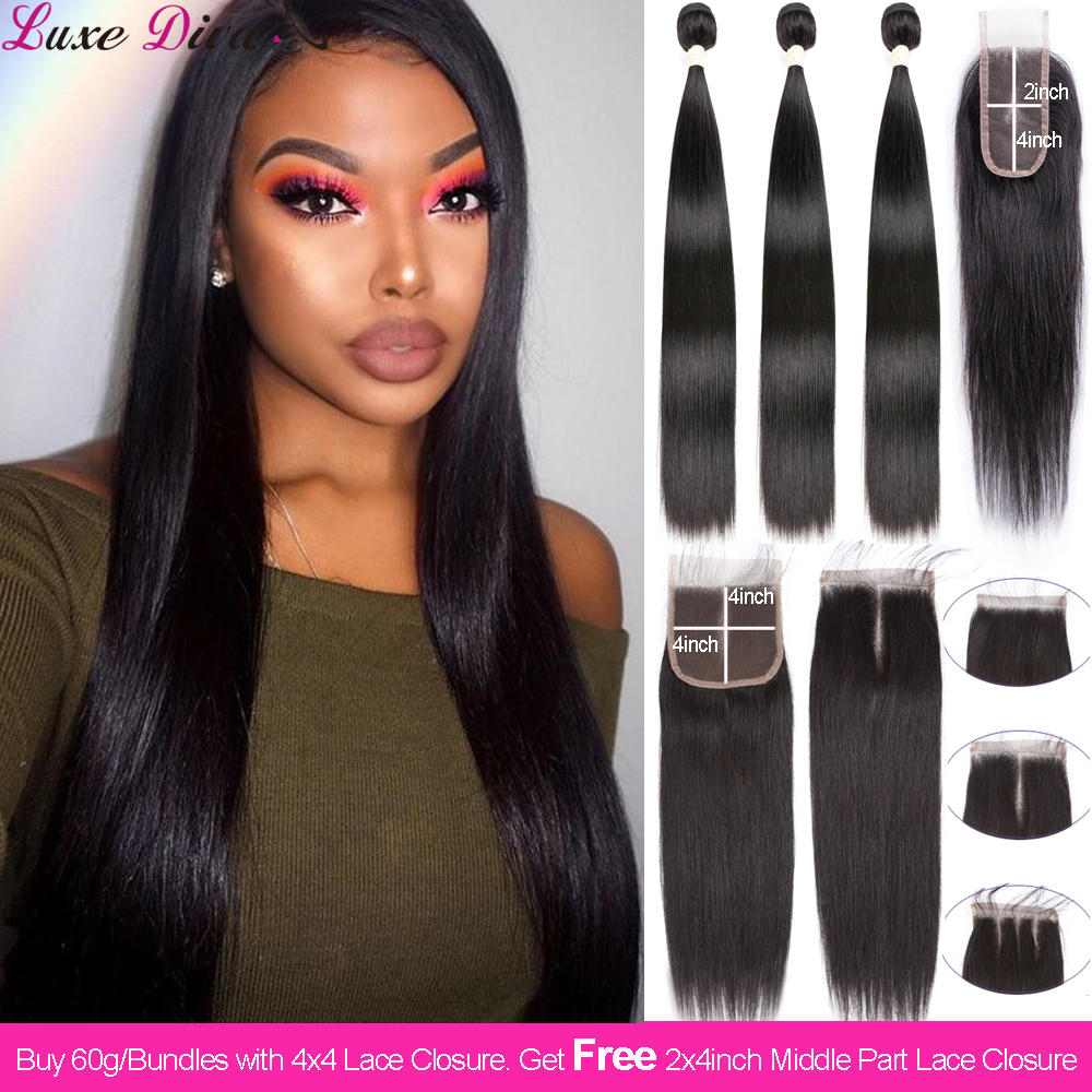 Brazilian Straight Hair 60g/Bundle Buy Human Hair Bundles With Lace Closure Get 2x4 Closure For Free Hair Weave Bundle Extension