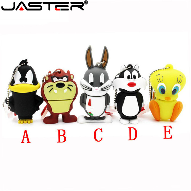JASTER Looney Tunes Usb Flash Drive 64GB 32GB Pendrive 16GB 4GB Bugs Bunny Daffy Duck Cartoon Hot Sale Animal Pen Drive Usb 2.0