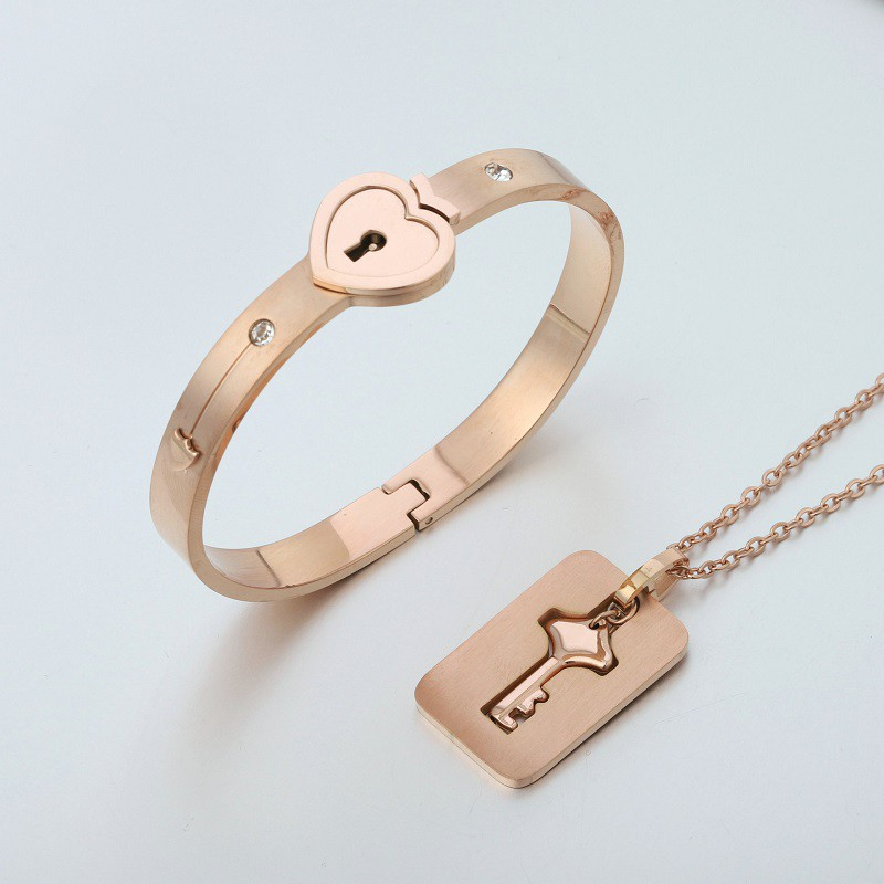 <font><b>Jewelry</b></font> <font><b>Sets</b></font> <font><b>Women</b></font> Fashion Concentric Lock Key Titanium <font><b>Steel</b></font> <font><b>Stainless</b></font> <font><b>Steel</b></font> <font><b>Jewelry</b></font> <font><b>Women</b></font> Bracelet Necklace Couple <font><b>Sets</b></font> image