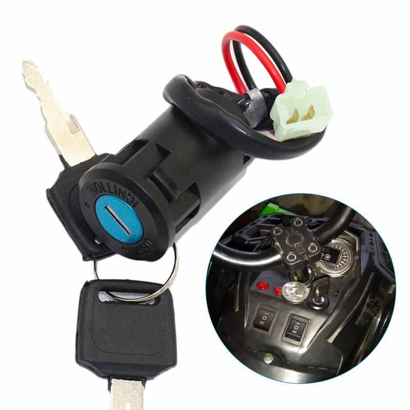 Tipo di filo interruttore di accensione on off con 2 chiavi per moto triciclo auto.