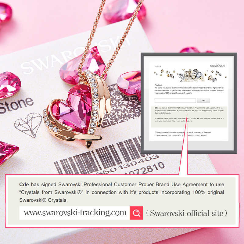 Cde女性ゴールドネックレスペンダントクリスタルで装飾からピンクハートのネックレスの天使の翼の宝石ママギフト