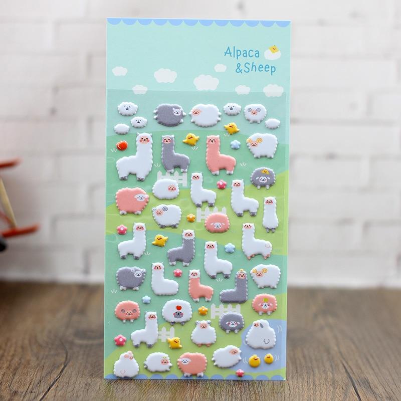 Novelty Cartoon Alpaca 3D Stickers Diary Sticker Scrapbook Decoration PVC Stationery Stickers FOD
