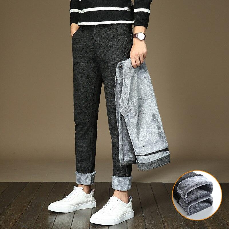 Korean Style Fashion Men Jeans Elastic Slim Fit Winter Warm Pants Linen Cotton Casual Business Thick Velvet Pencil Pants Men