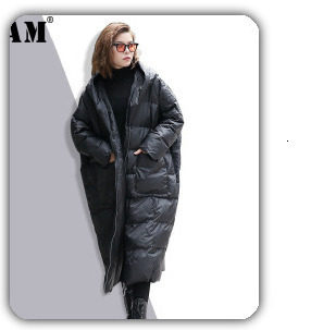 [EAM] Black Big Size Hooded Cotton-padded Coat Long Sleeve Loose Fit Women Parkas Fashion Tide New Autumn Winter 2019 1H886 43
