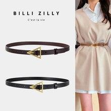 JIFANPAUL new style triangle buckle thin belt women's decorative dress Korean fashion style matching jeans belt simple tren