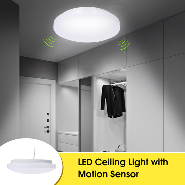 LED Ceiling Light with Motion Sensor 12W with Daylight Sensor 27cm Diameter Ceiling Lamp for Basement Garage Closet Hallways