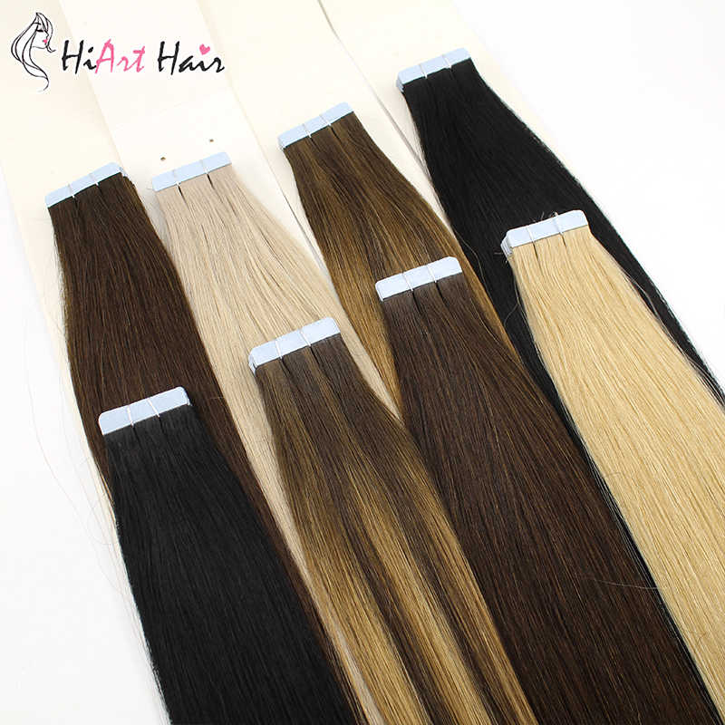Hiart 2.5G Tape Hair Extensions Menselijk Remy Haar Salon Double Drawn Lijm Extension Tape 2020 Balayage Hair Straight