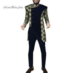2019 Afrikaanse Mannen Sets Tops + Broek Set 2 Stuks Fashion Printing Kleding Feestelijke Kostuum Afrika Kleding Aangepaste WYN972
