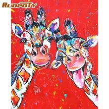 RUOPOTY-Kits de pintura al óleo por números con marco de 60x75cm para adultos, dos pinturas de jirafa feliz por número, decoración de pared, Canv Acrílico
