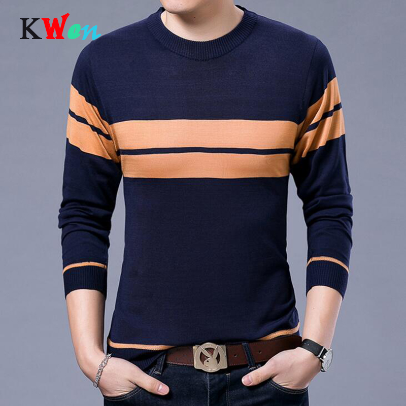 2018 New Designer Pullover Striped Men Sweater Dress Thick Winter Warm Jersey Knitted Sweaters Mens Wear Slim Fit Knitwear