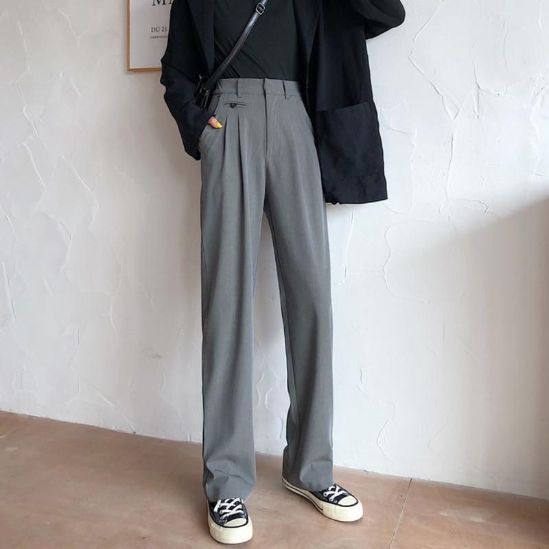 2020 Spring Black High Waist Suit Pants Women Drape Double Pleated Long Pants Korean Official Ladies Trousers