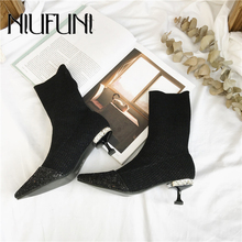 NIUFUNI New Comfort Sock Boots Women Slip On Elastic Botas Pointed Toe Shoes Woman High Heel Ankle Boots Rhinestone Botas Mujer