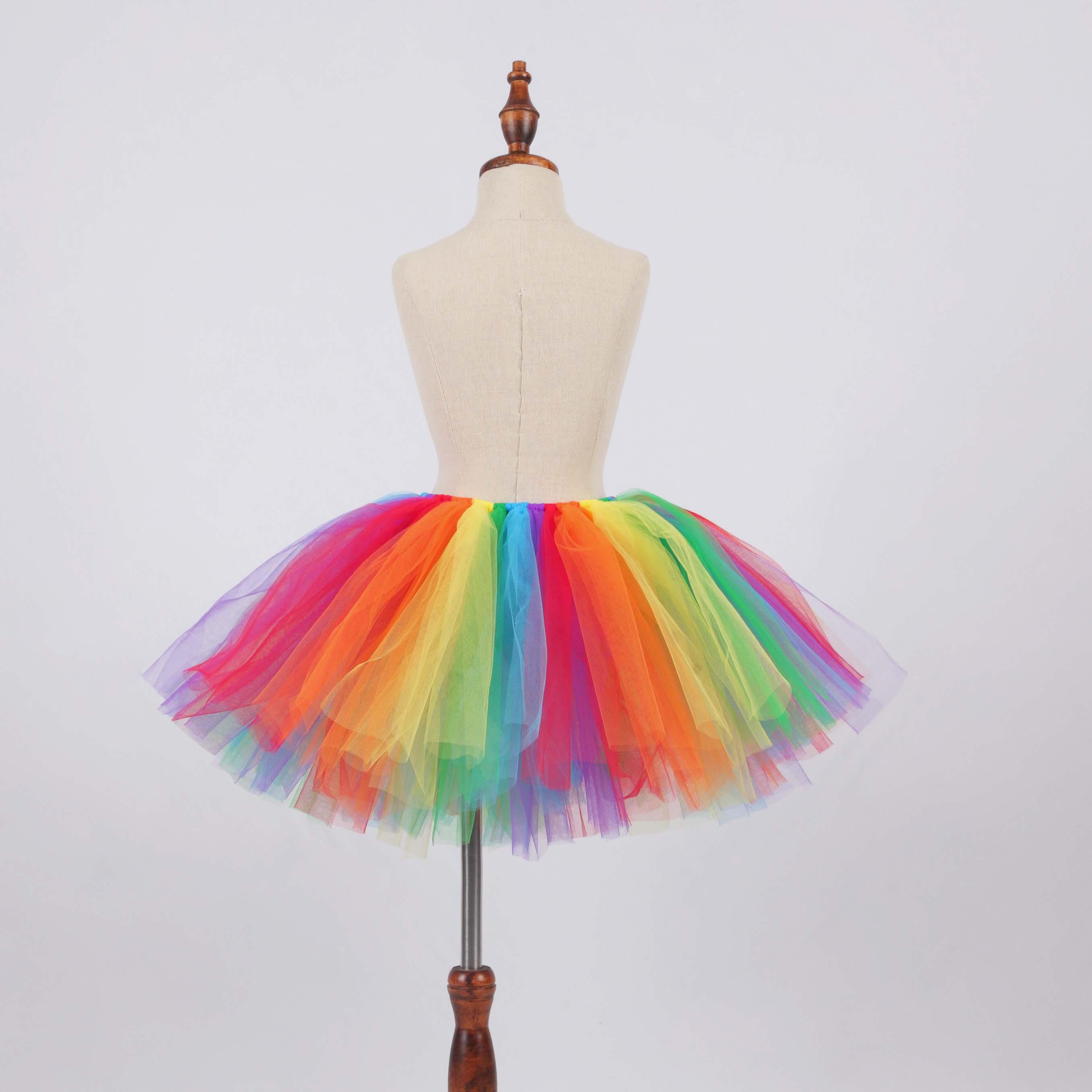 Baby Girls Bright Rainbow Fluffy Tutu Skirt Costume Newborn Photo Props Kids Halloween Cosplay Costume