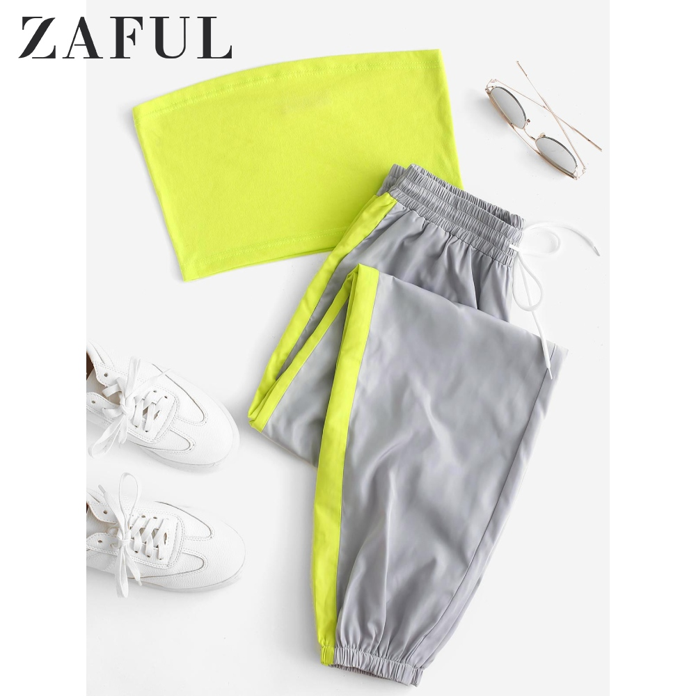 ZAFUL Women Sports 2 Piece Set 2019 Strapless Bandeau Crop Top Long Contrast Drawstring Pants Set Summer Women Cotton Outfit Set
