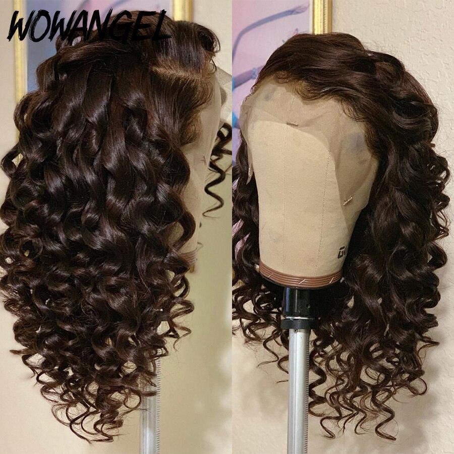 13*6 Синтетические волосы на кружеве парики из натуральных волос на кружевной Мёд коричневый Цветной вьющиеся полный шнурок человеческих во...