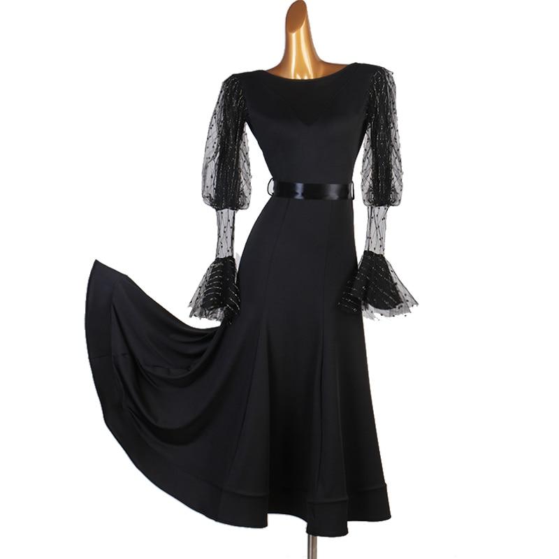 Sexy Lace Ballroom Dance Dress For Woman Long Sleeves Waltz Tango Dance Dresses Standard Ballroom Dress Black Custom Made