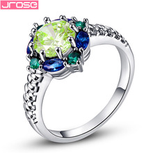 Onlylove Wholesale Women Fashion Green Amethyst & Sapphire Emerald Stones 14K White Gold Filled Ring Size 6 7 8 9 10 Free Ship