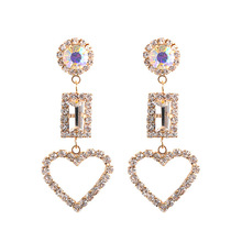 Heart-shaped Crystal Popular Earrings, Hollow Out Decorative Suitable for Female Jewelry Dangle Earrings