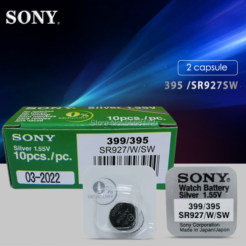 2pc Sony 1.55V 395 SR927SW 399 SR927W LR927 AG7 Watch Battery SR927SW 395 Button Coin Cell Single Grain Packing MADE IN JAPAN