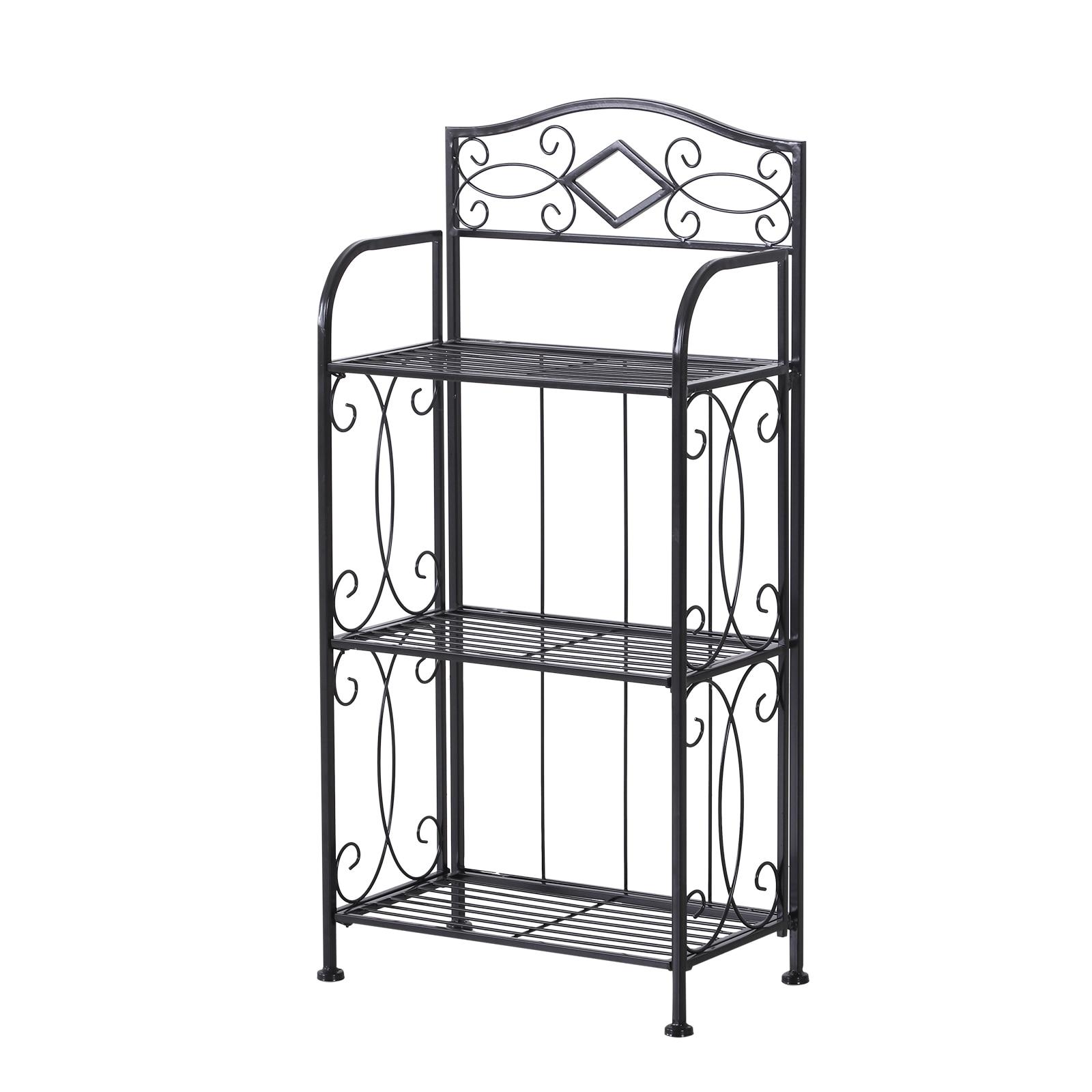 HOMCOM Portafiori Folding Shelf with 3 Shelves for Balcony Garden Iron Painted 48x28x101.5 cm Black|  - title=