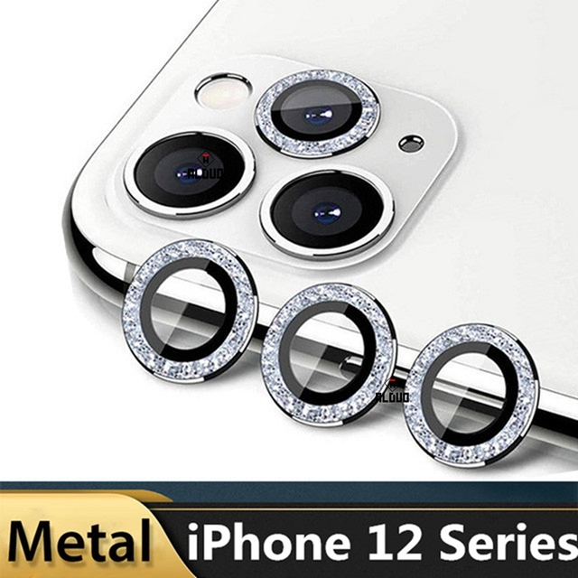 Diamond Camera Lens Protector For iPhone 12 Pro Max 12 Mini Camera Metal Ring Glass for iPhone 11 12pro max 12pro Protective Cap 1