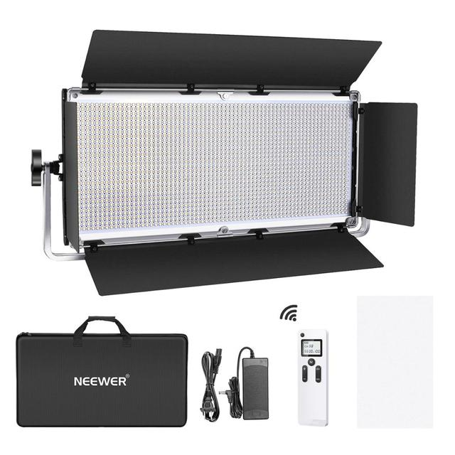 Neewer Advanced 2.4G 1904 LED éclairage vidéo, panneau de LED bicolore à intensité variable avec écran LCD, porte dentrée et support en U et télécommande sans fil