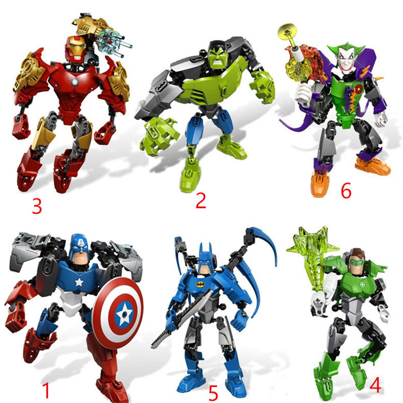 Zhenwei Super City Heroes Action Figures Blocks Assemble Bricks DC Comics Iron Man Caption Avengers