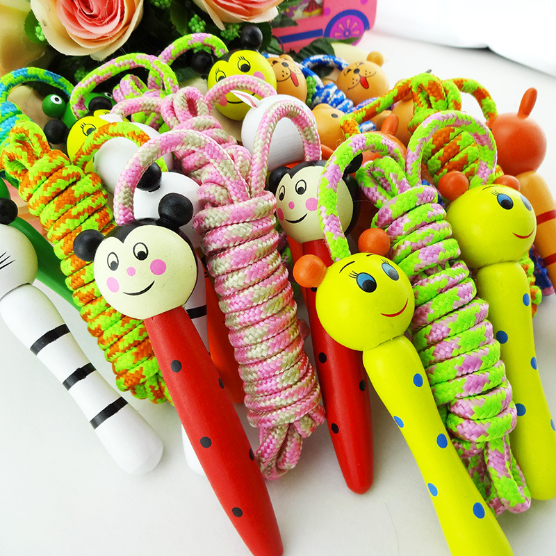 Wooden Cartoon Toy Wooden Handle Students Small Jump Rope Children Entertainment Fitness Jump Rope Gift Prizes