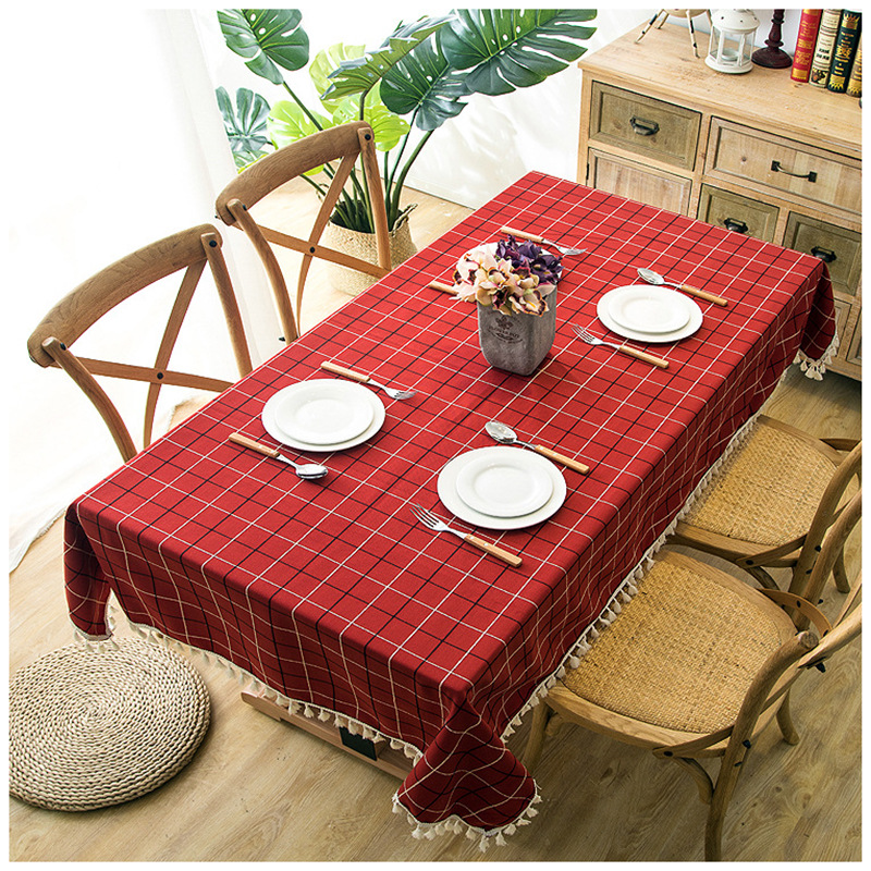 Top Quality American Style Plaid Tablecloth Jaquard Cotton Linen Polyester Fabric Rectangle Coffee Bar Table Cover Waterproof image
