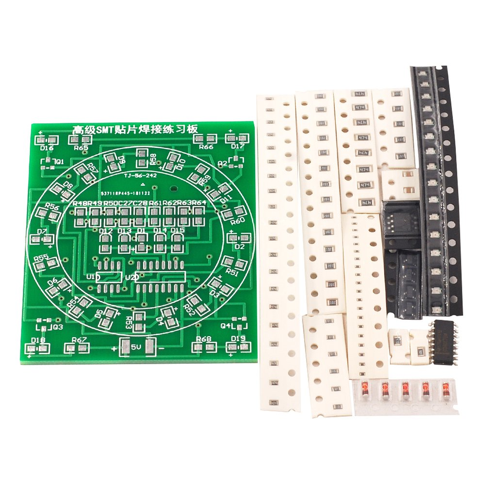 Tablero de práctica de soldadura de componentes SMD CD4017 + NE55 Kit de luz de agua entrenamiento de soldadura