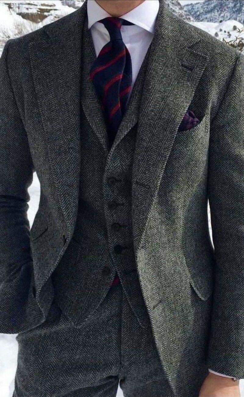 Men's Grey Herringbone Wool Suits 3 Piece Tweed Blend Vintage Peaky Blinder