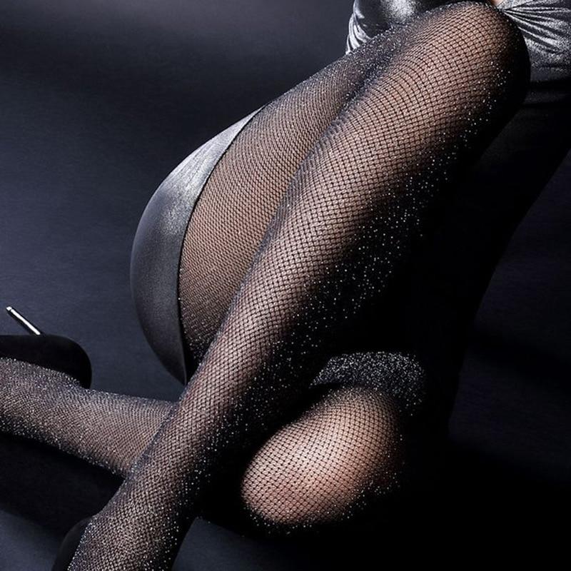 mesh ქალთა გოგონები ვერცხლისფერი ოქროსფერი ფერი Tights ქალბატონი სექსუალური fishnet Hook Stockings ბრჭყვიალა Shimmer ქალი მაღალი ხარისხის Shiny Pantyhose